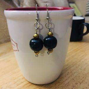 "NWT, Blue & Gold drop Earrings 1 1/2-2"" long"